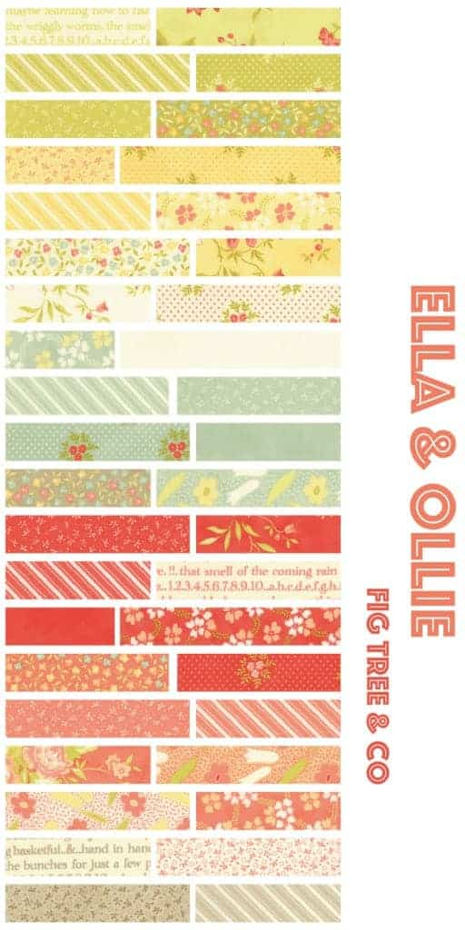 Ella & Ollie fabric collection from Moda - lovely quilting cotton with flower patterns in yellow, green, orange and apricot - perfect for quilting or girls clothing.