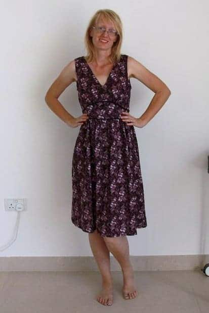 Madame Josephine dress from P&M Patterns sewn in a purple and black floral print.