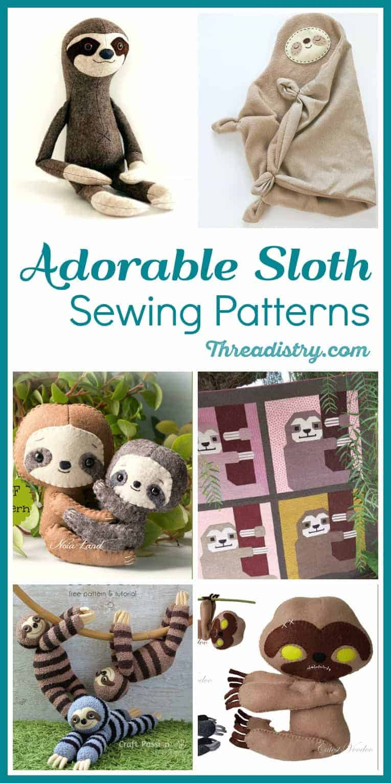 Zombie Sloth Felt Pattern PDF PATTERN
