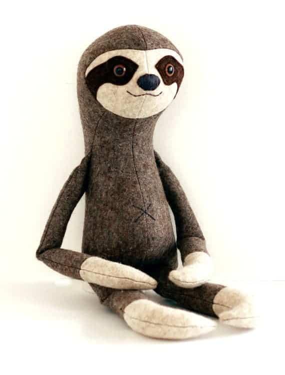 Sloth stuffed animal sewing pattern from Crafty Kooka