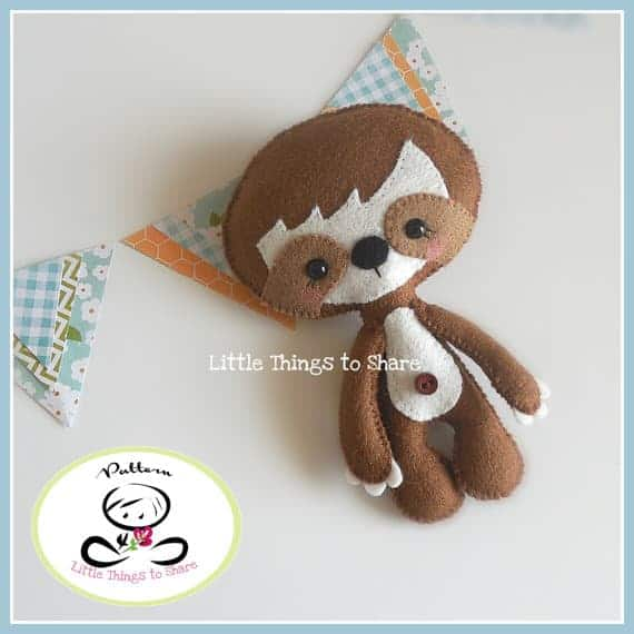 Little sloth felt sewing pattern from Little Things to Share
