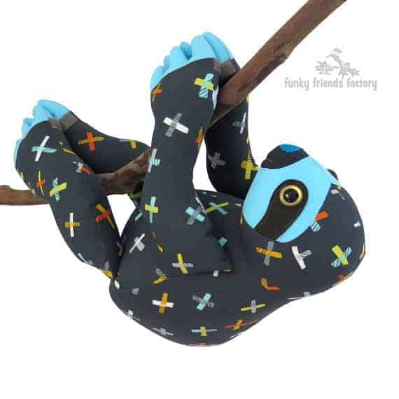 Slowpoke the Sloth plush toy sewing pattern from Funky Friends Factory