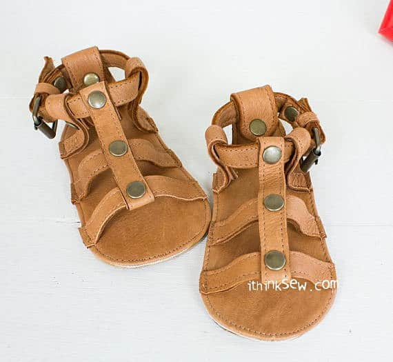 Lexis Baby Gladiator sandals sewing pattern from IThinkSewDesign
