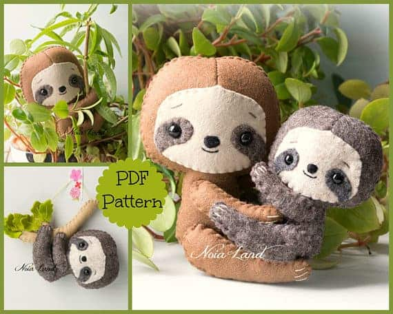 Sloth: mom and baby sewing pattern from Noialand