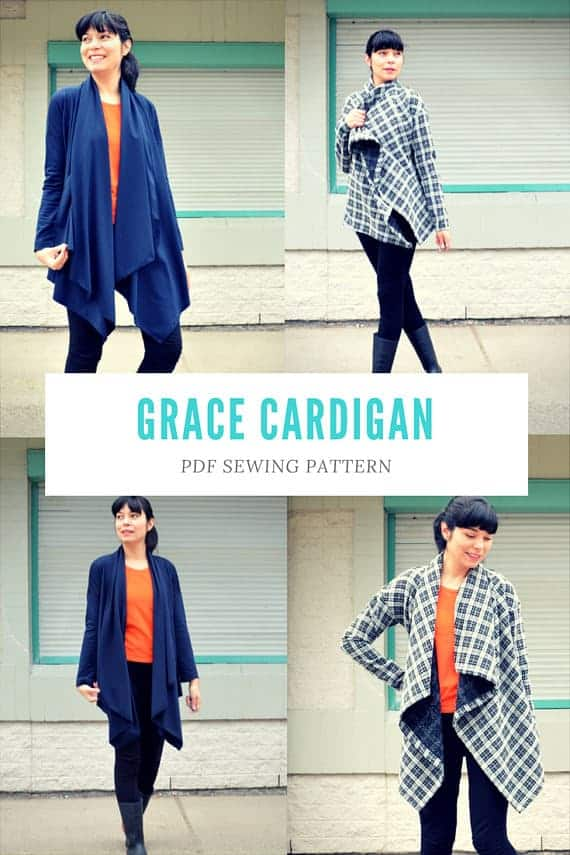 Waterfall cardigan sewing pattern for women from DG Patterns