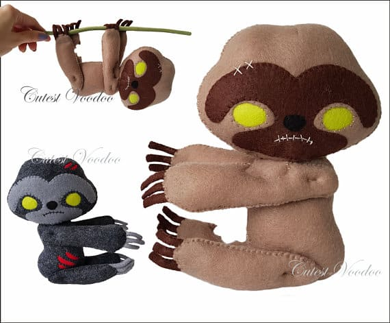 Felt zombie sloth sewing pattern from Cutest Voodoo