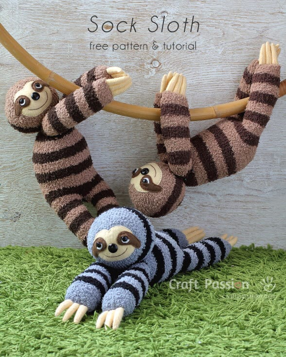 Free sock sloth sewing pattern and tutorial from Craft Passion