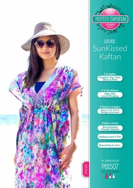 Sun-kissed kaftan swimsuit cover up sewing pattern from Pattern Emporium