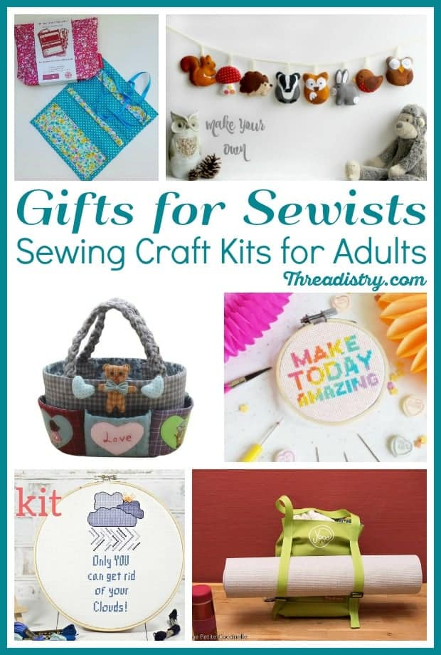 Great gift ideas for sewists (or is it sewer or seamstress??). Give the gift of sewing for Mother's Day, Christmas or birthday with these sewing craft kits for adults. Get the perfect present for someone who loves to DIY without worrying about getting the wrong sewing supplies. From cute to practical, these sewing kits are wonderful!