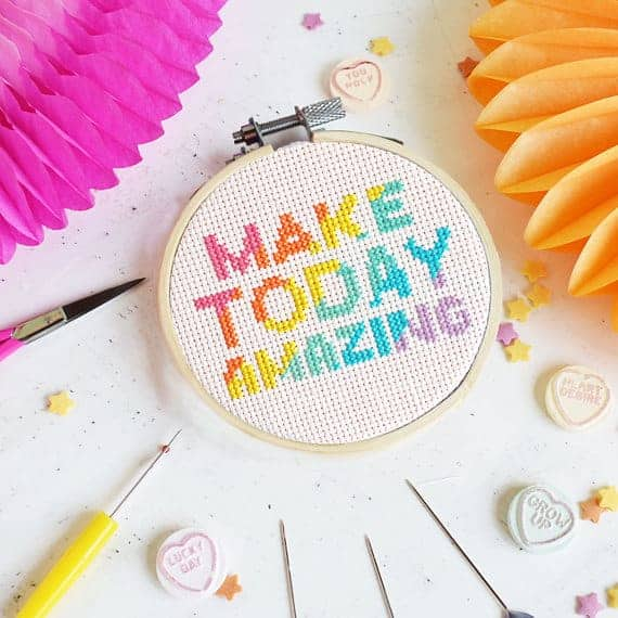 Make Today Amazing DIY cross-stitch kit from The Make Arcade