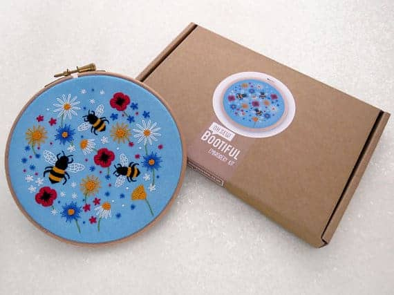 Bees and Wildflowers embroidery sewing kit from Oh Sew Bootiful