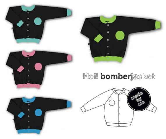 Hoi! Baby bomber jacket sewing kit including pattern, fabric and snaps from Hiop Shop