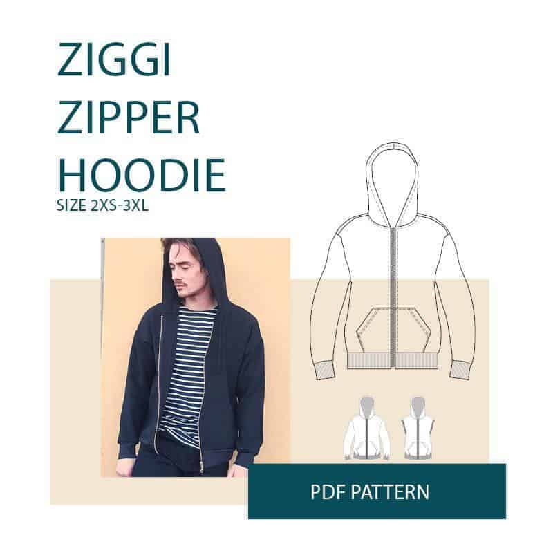 Ziggi Zipper Hoodie sewing pattern from Wardrobe By Me
