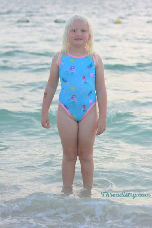 Honey Bee swimsuit sewing pattern from Annelaine Designs front view