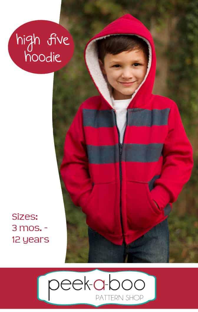 High five boys hoodie sewing pattern from Peekaboo Pattern Shop.