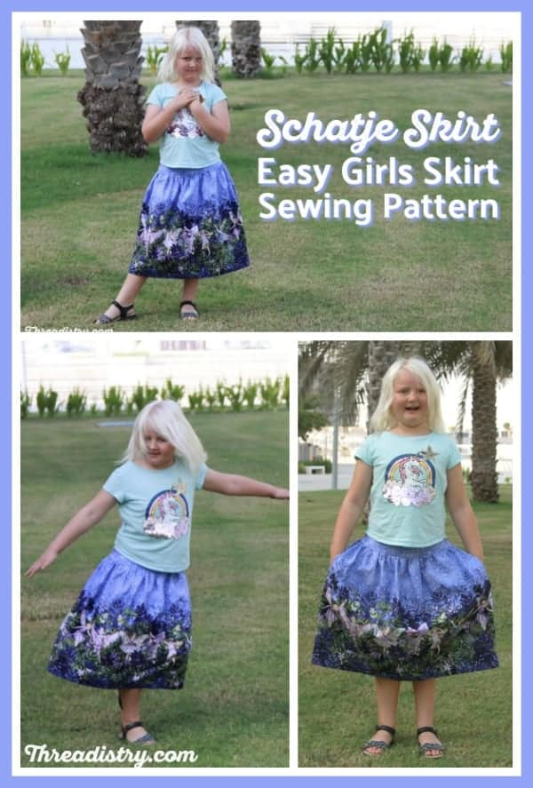 Looking for an easy skirt sewing pattern for girls? This cute DIY skirt has a flat-front and elastic back, so it's easy to get on and off, but looks great from the front. It's perfect to sew in a border print (Michael Miller Night Flower Fairies). Click through to read my Schatje Skirt sewing pattern review. #sewing #sewingforgirls #skirtsewingpattern #theelimonster #pdfsewingpattern
