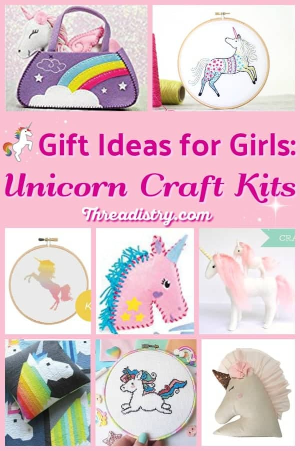 Unicorn craft kits are a cute gift for girls, including tweens and teens. Learn to sew or cross-stitch with these awesome unicorn sewing kits, from felt or other fabrics. Fun and easy DIY gifts for Christmas or Birthday for kids.