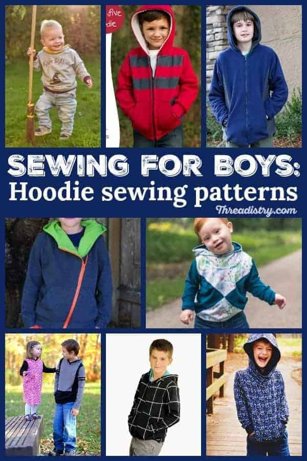 Find the perfect kids' hoodie sewing pattern. From zip-up to hooded sweatshirt (or pullover), toddlers, tweens and teens, sew up a fun long-sleeve project this winter. There's even an adorable pattern with a wide range of animal ears! Here's your inspiration for simple sewing for boys.  #sewingforboys #hoodie #pdfpatterns #sewingprojects #sewing