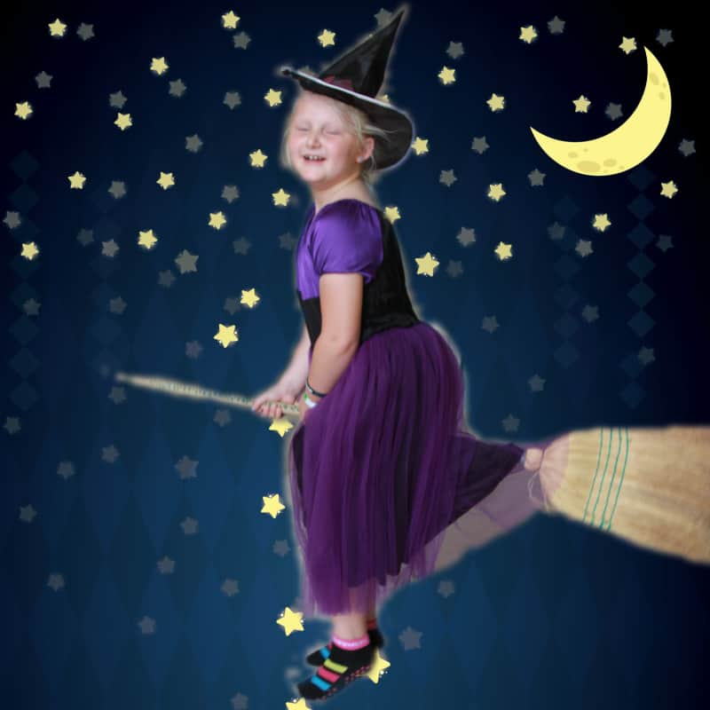 DIY witch costume for girl with the Fjell dress sewing pattern from The Eli Monster. Take a simple dress sewing pattern and turn it into this DIY witch costume for a girl. It's a classic handmade Halloween costume. Start spooky sewing now!