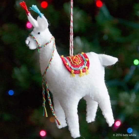 Fa La La La Llama is a cute felt Christmas ornament sewing pattern which could also be used as a felt llama toy.
