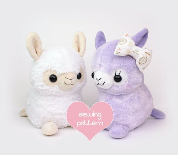 Alpaca or llama stuffed animal sewing pattern from Teacup Lion, perfect toy for babies or kids.