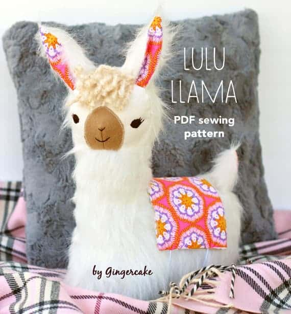 Lulu Llama can be used as a pillow or a DIY llama plush. The sewing pattern is from Gingercake.