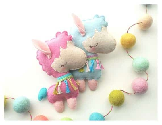 Pastel the Llama is a more whimsical felt llama pattern from Little Things to Share.