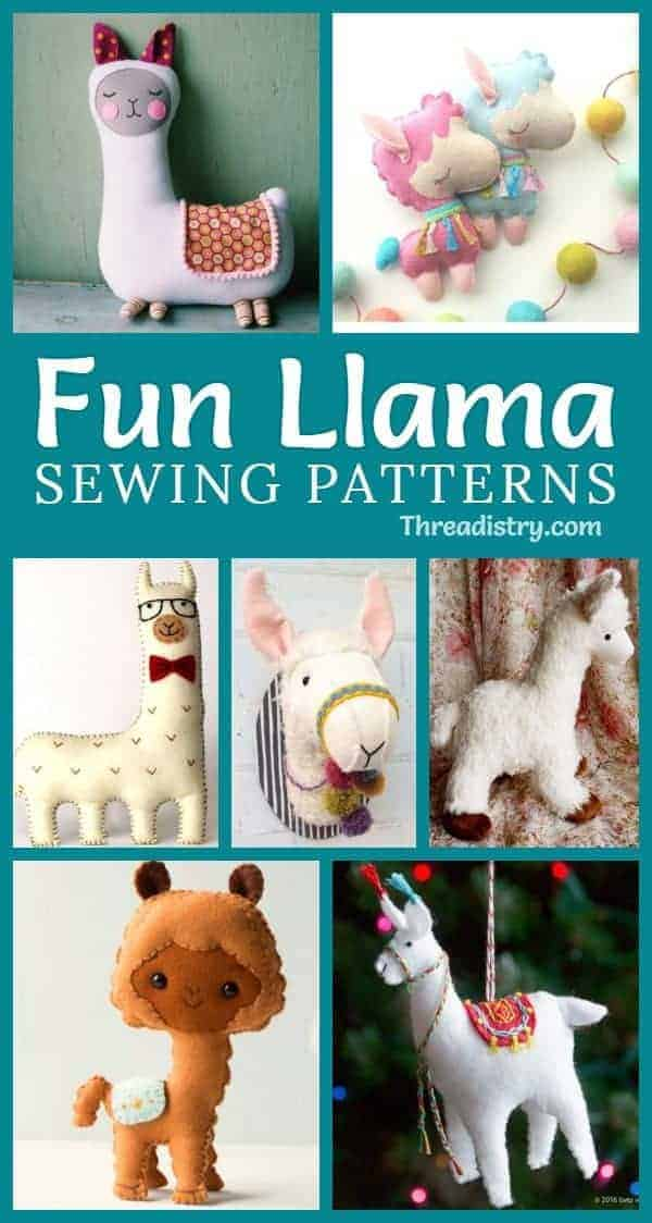 """No drama, just cute llama sewing patterns. Fun DIY ideas and inspiration to sew a quick and easy llama or alpaca, with projects for stuffed animals, ornaments, pillows, and more. Love the """"hobby horse"""" llama!"""