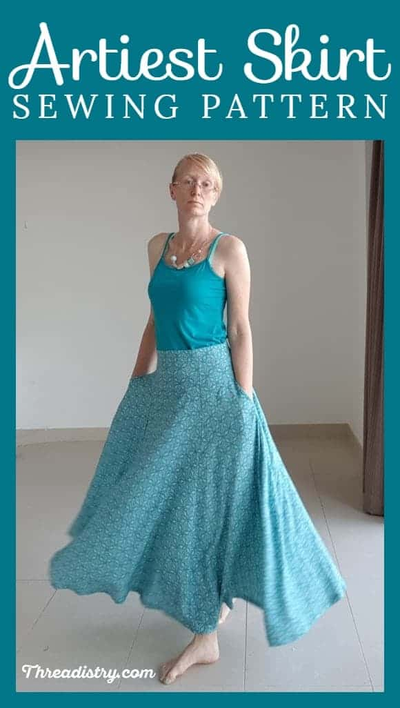 Artiest maxi skirt sewing pattern for women from the Eli Monster, reviewed by Threadistry. Gorgeous panelled ladies' skirt with invisible zipper, perfect for summer made out of a lightweight cotton