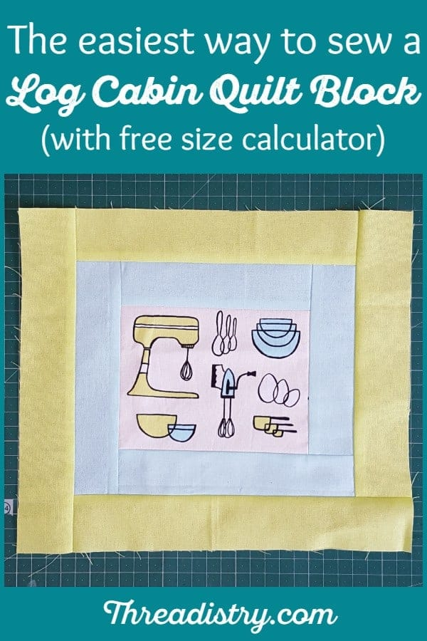 This free tutorial is the easiest way to sew a log cabin quilt block, with the least amount of measuring. It's a simple project for the beginner quilter, perfect for using up scraps, fat quarters or a jelly roll. Sew it in the traditional colors or have fun with a more modern design. Use the free calculator to make the log cabin quilt block in any size.
