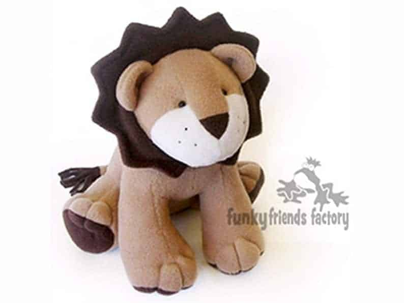 Larry Lion soft toy sewing pattern from Funky Friends Factory
