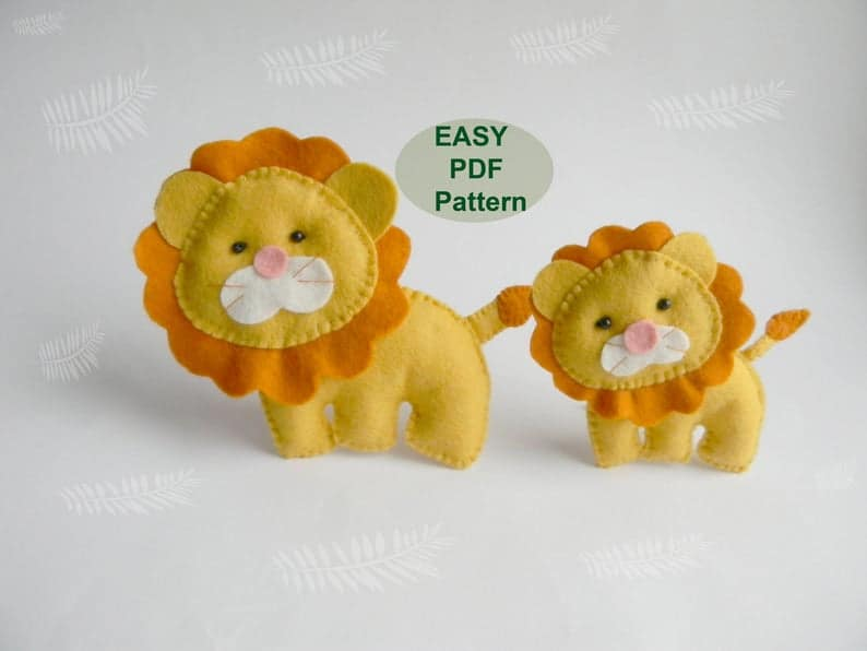 Felt Lion sewing pattern from Magic Pattern Shop