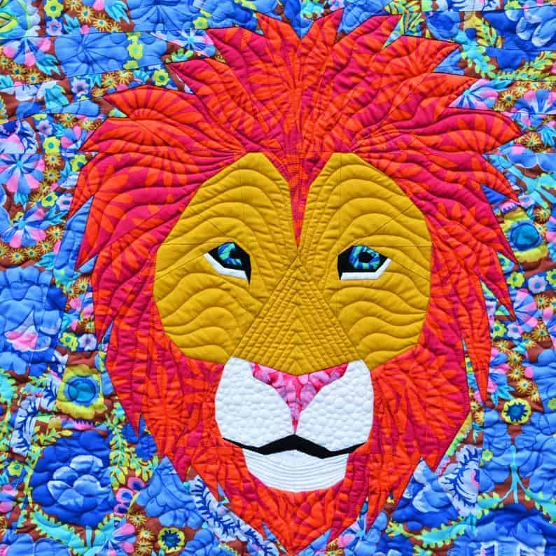 Foundation paper pieced lion quilt block pattern from Tartan Kiwi Patterns.