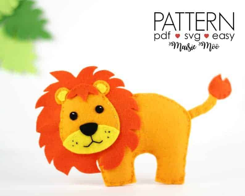 Felt Lion sewing pattern from Maisie Moo Pattern Shop