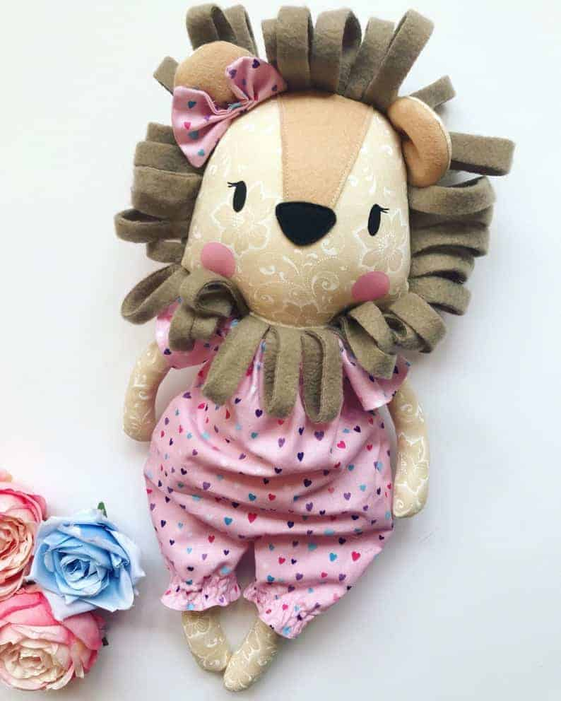 Sahara the Lion Doll sewing pattern from Sew Eleven