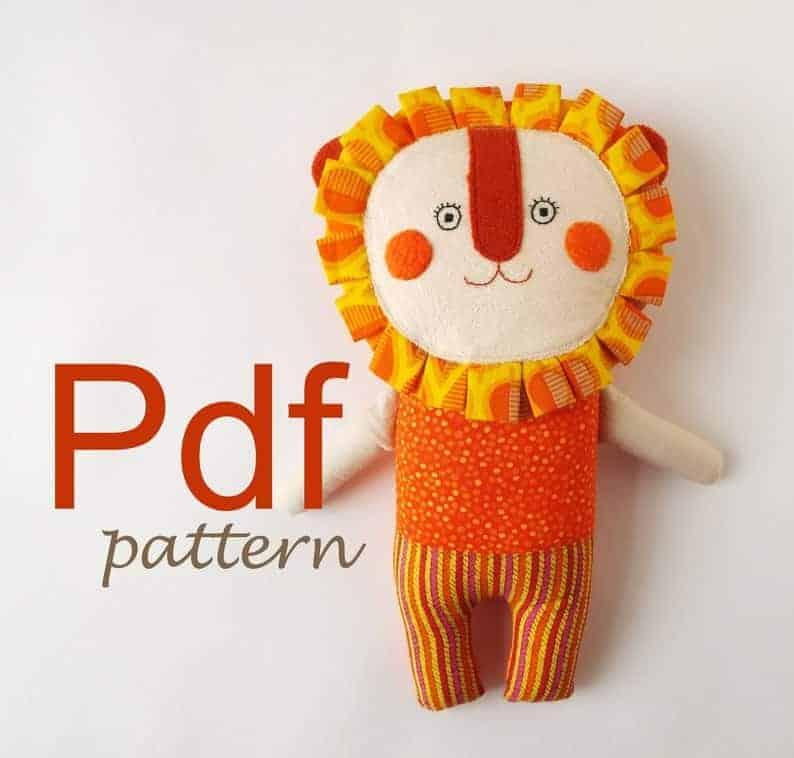 Stuffed Rag Doll Lion sewing pattern from Tatadolls