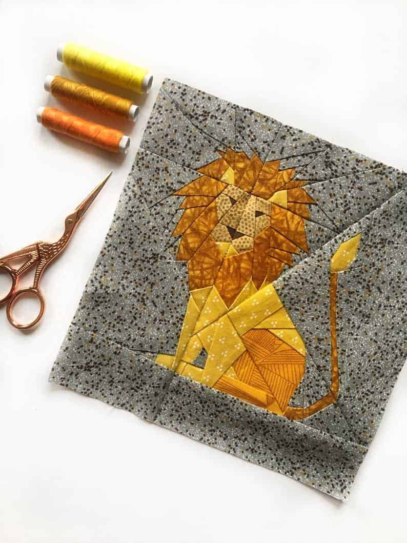Lion quilt block pattern from Joe June and Mae