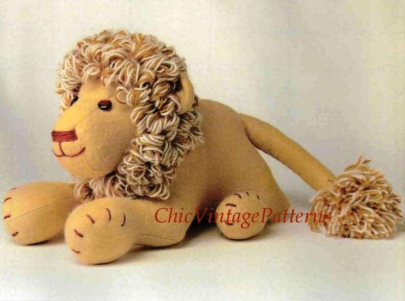 Leonard Lion soft toy sewing pattern from Chic Vintage Patterns
