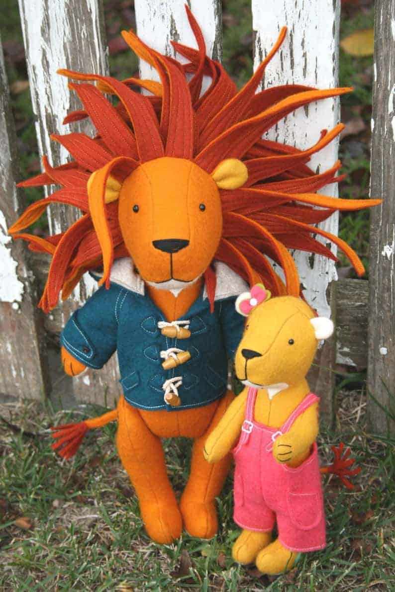 Frankie and Dee lion and lioness sewing pattern from RicRac Sews