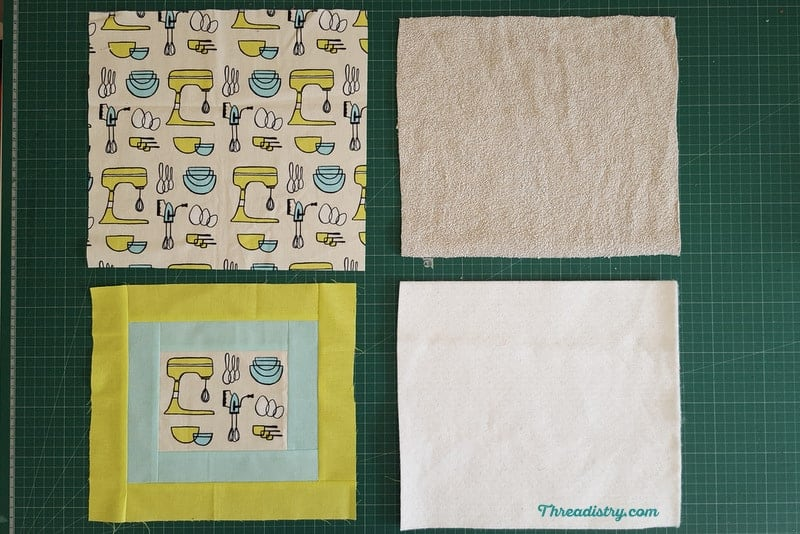 Materials needed for sewing a pot holder - front fabric, backing fabric, Insul-Bright and batting or towelling