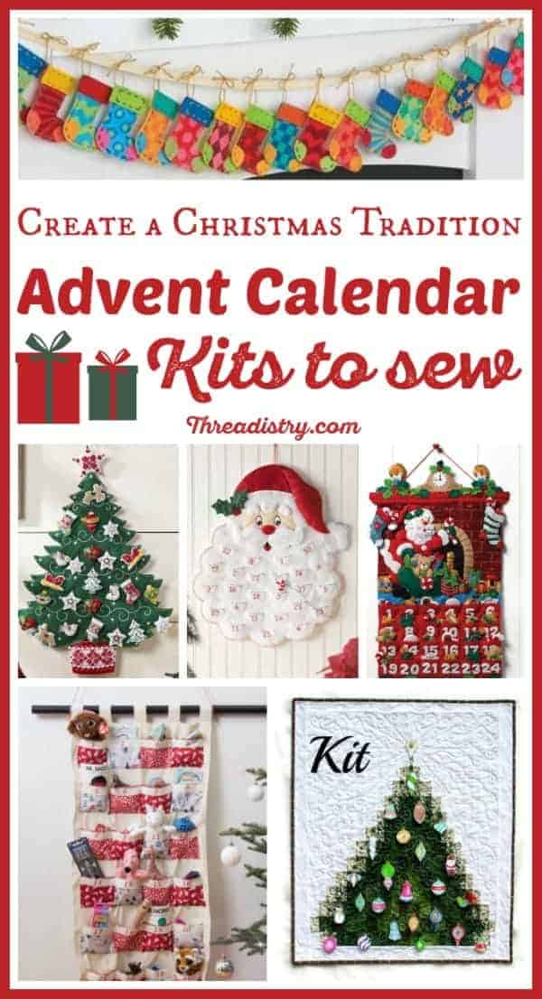 Celebrate the countdown to Christmas with these DIY Advent Calendar Kits to sew. These sewing kits contain the pattern, template, fabric and more to create a handmade family heirloom. Choose from felt, fabric and quilt designs, from easy to more elaborate. So many fun craft ideas! #Christmas #ChristmasSewing #HandmadeChristmas #Sewing #AdventCalendar #Advent