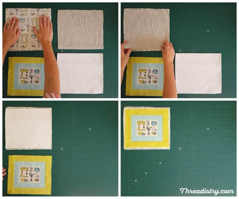 How to put the layers of a pot holder together, including batting and Insul-Bright