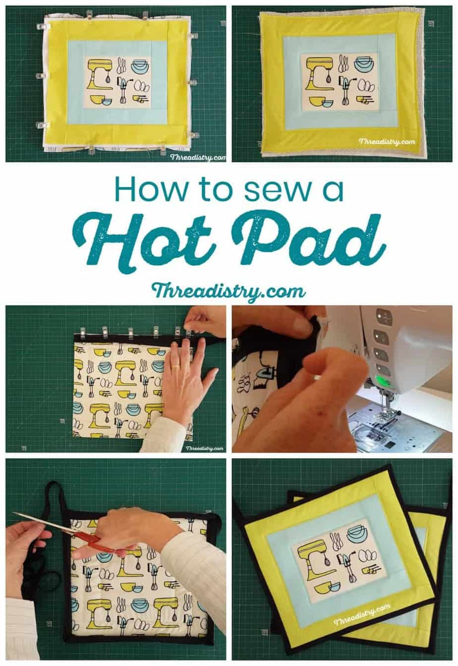 How to sew a pot holder or hot pad with Insul-Bright. Learn how to quilt and bind a pot holder with this simple and easy sewing tutorial for beginners.