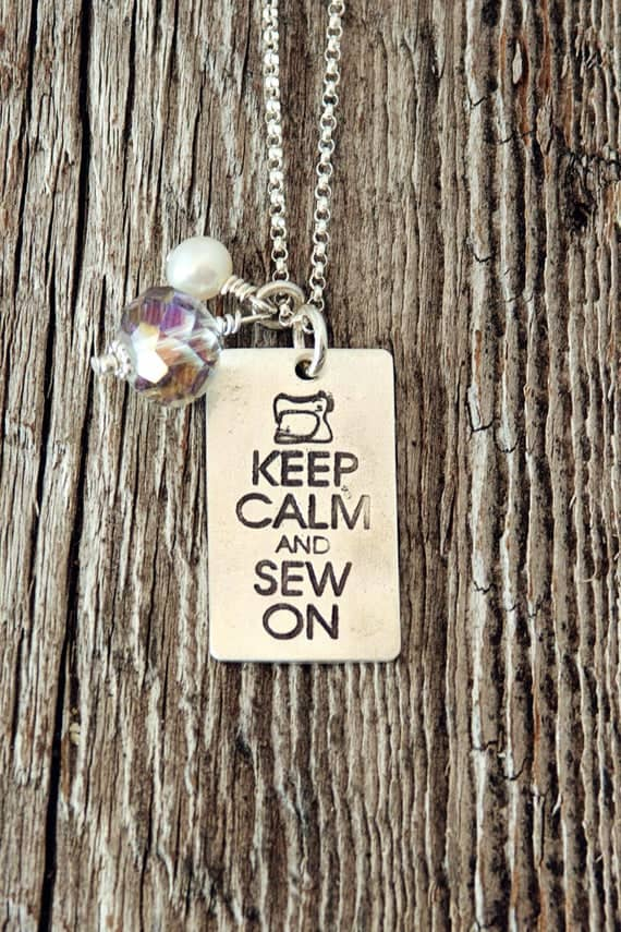 Keep Calm and Sew on rectangular charm on necklace