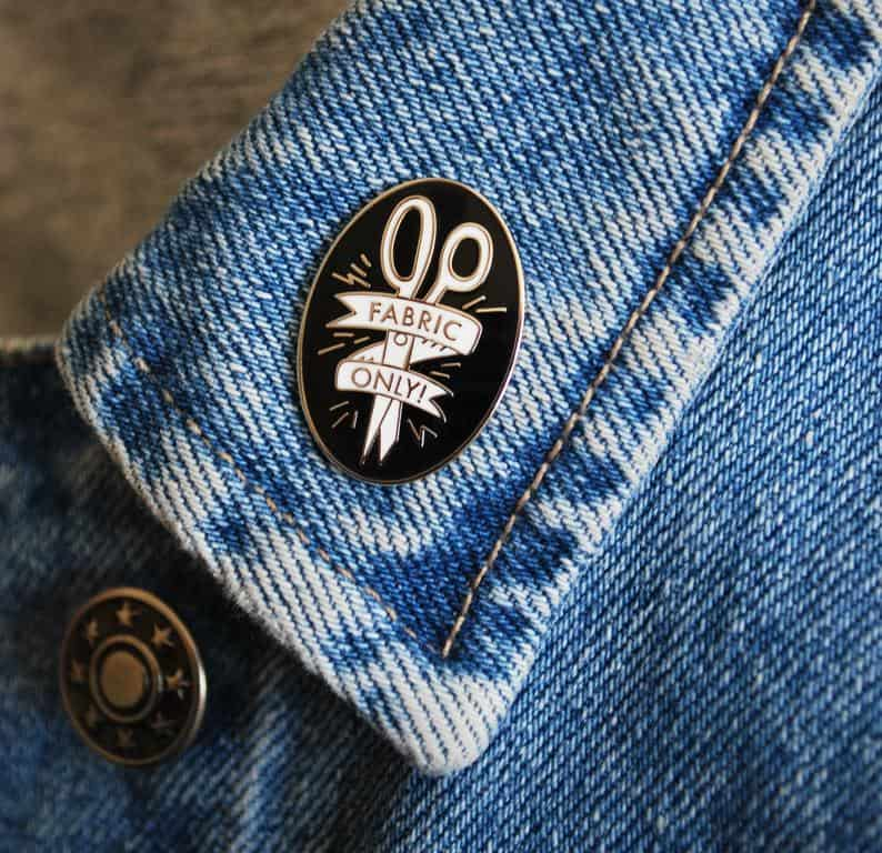 Fabric only scissors enamel pin - funny gift for sewists