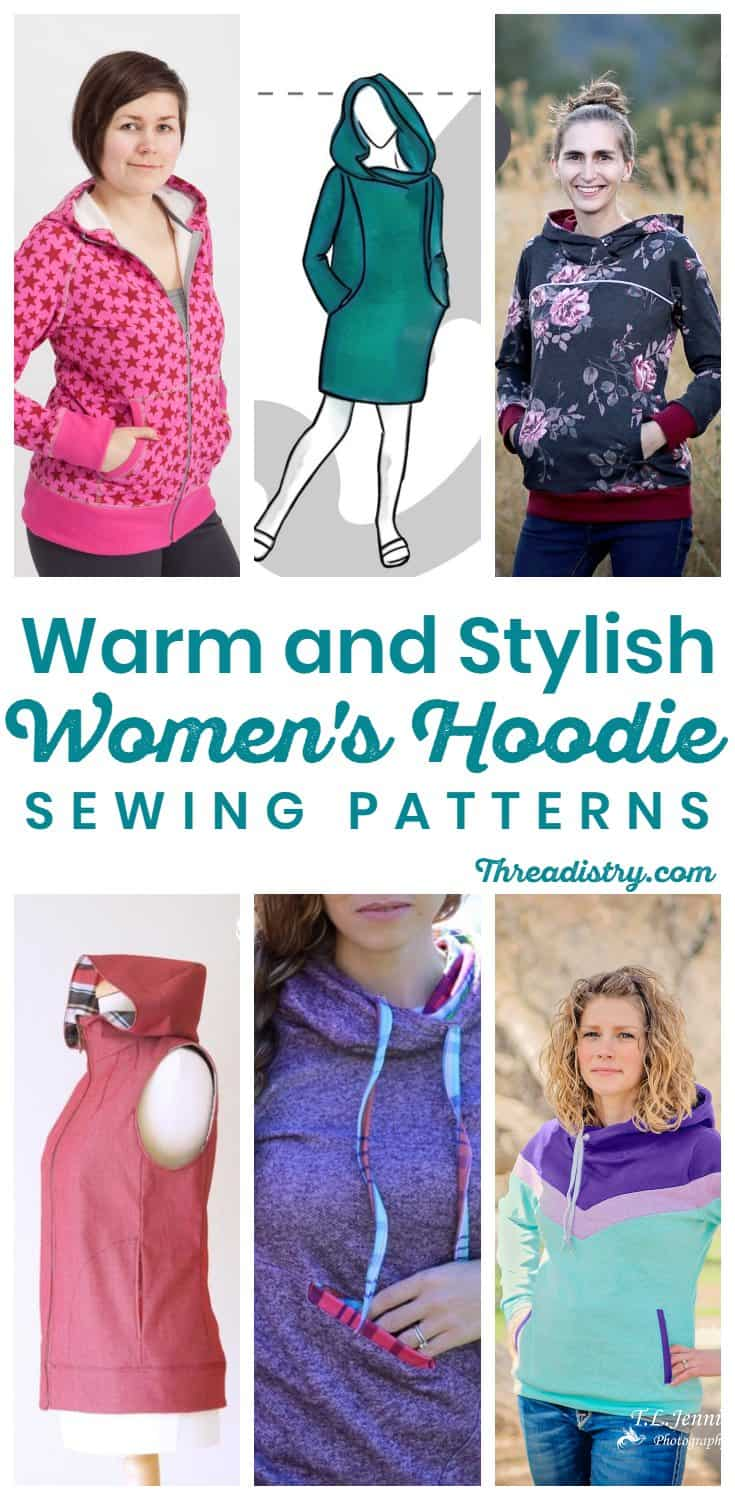 Sew a stylish and warm sweater for winter with these women's hoodie sewing patterns, including a hooded vest, zip up hoodies and those with kangaroo pockets.