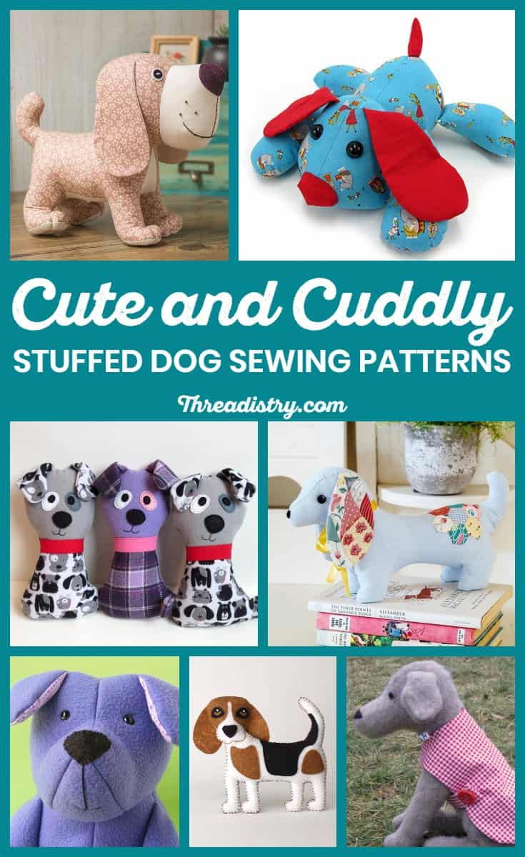 Collection of stuffed dog sewing patterns