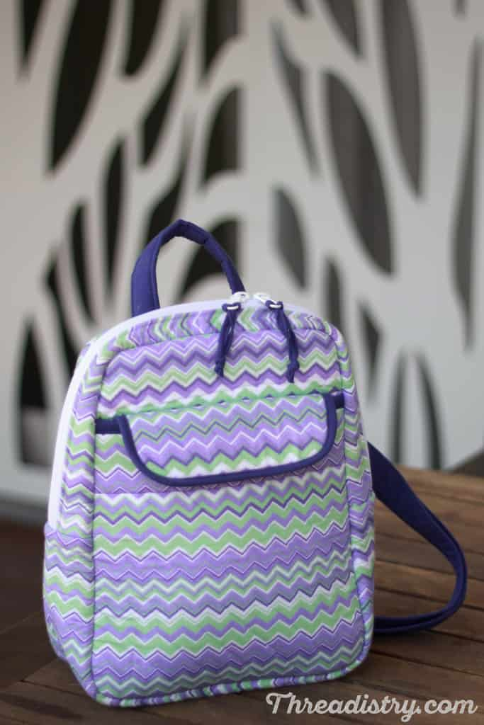 My version of the Sew Sturdy Essential Backpack - front view sitting on table