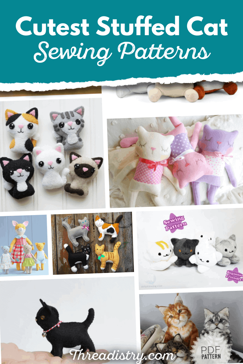 Collection of stuffed cat sewing patterns from Threadistry.