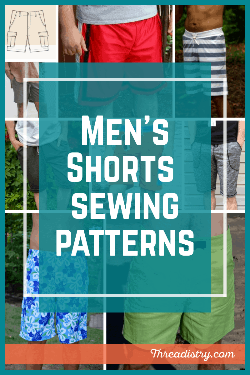 Men's shorts sewing patterns collage
